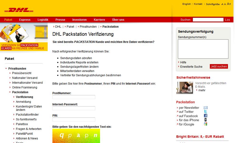 phishing von dhl packstation konten. Black Bedroom Furniture Sets. Home Design Ideas