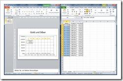 PowerPoint und Dateneingabefenster (Excel) nebeneinander
