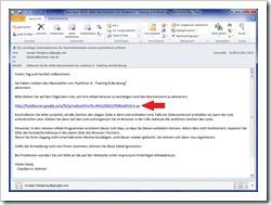 """Bestätigungsmail an angegebene eMailadresse mit """"Bestätigungslink"""""""