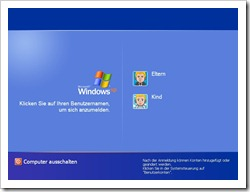 Windows XP mit Account für Eltern und Kind