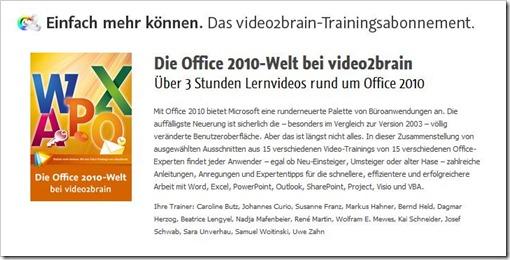 Über 3 Stunden Lernvideos rund um Office 2010 bei video2brain.de