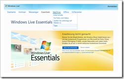 Homepage der Windows Live Essentials für Windows 7