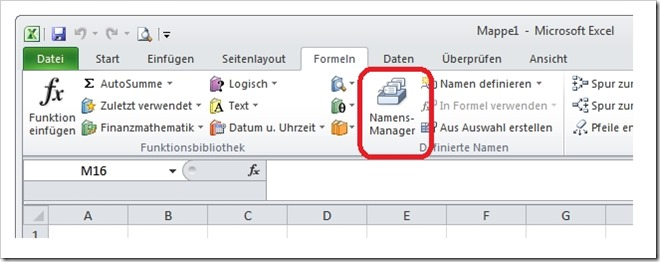 Der Namensmanager in EXCEL 2010